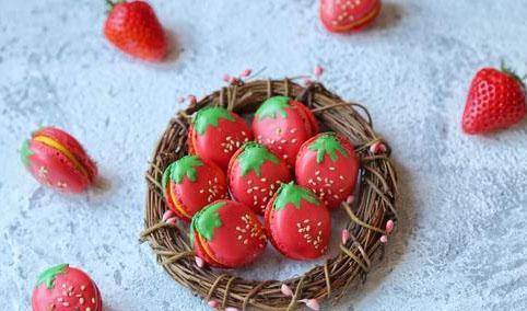 法式草莓马卡龙