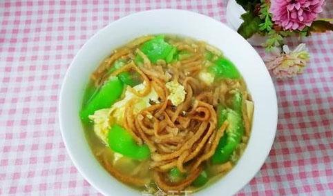 麻油馓子丝瓜汤