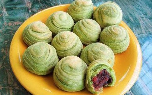 抹茶豆沙圆酥