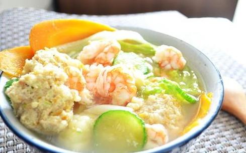 鲜虾丸子汤