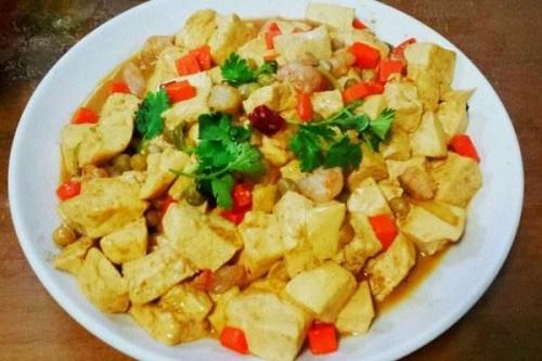 黑椒虾仁豆腐