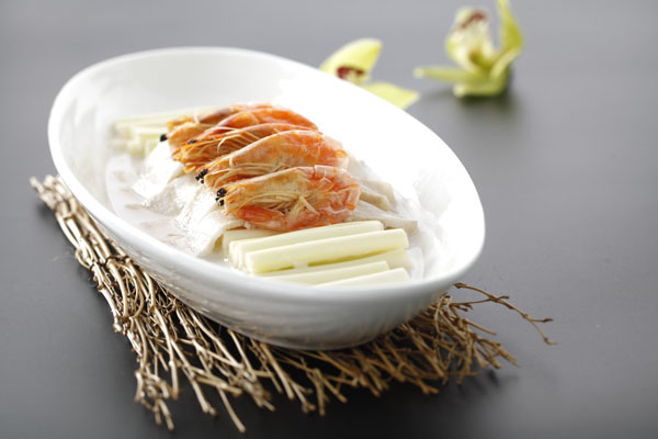 咸肉虾干煮蒲菜